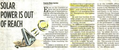 Indian Express. June 5th 2009